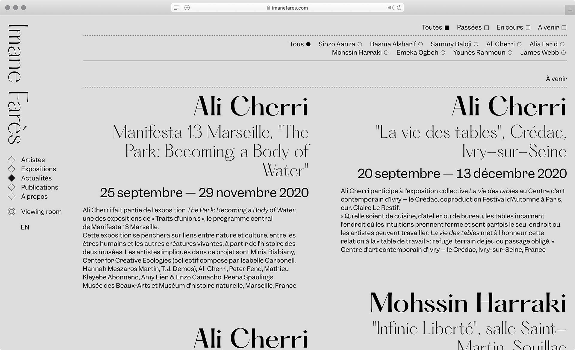 Cyril Makhoul - (link: https://imanefares.com/ text: Galerie Imane Farès) — Visual Identity and webdesign.